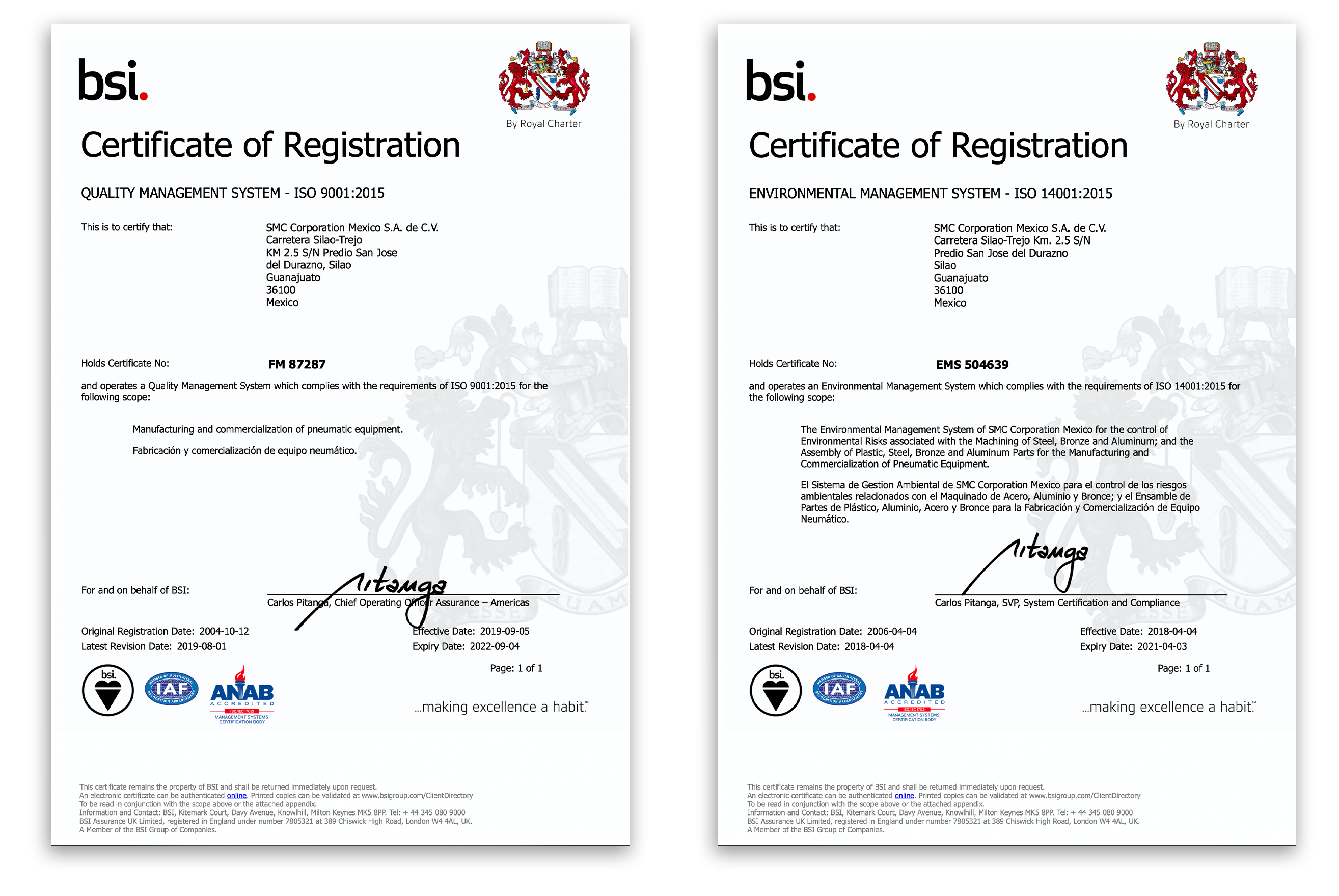 certificación ISO SMC
